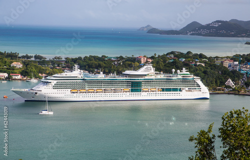 Luxury White Cruise Ship in St Lucia Bay
