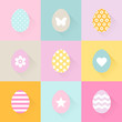 Easter Eggs Flat Design Long Shadow Pastel Orange