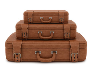 render of retro suitcases, isolated on white