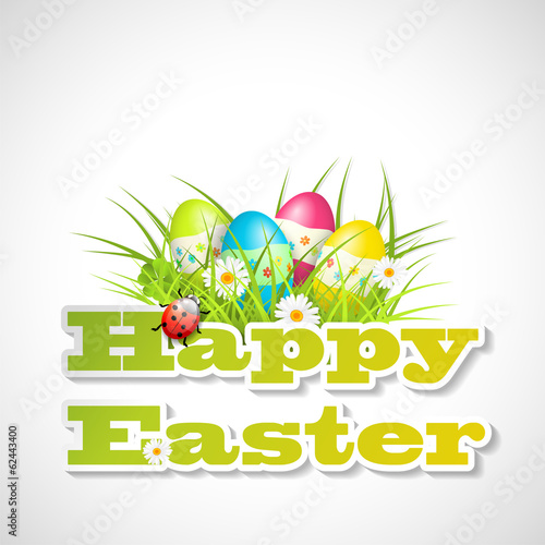 easter motive - eggs in grass and text happy easter, illustratio