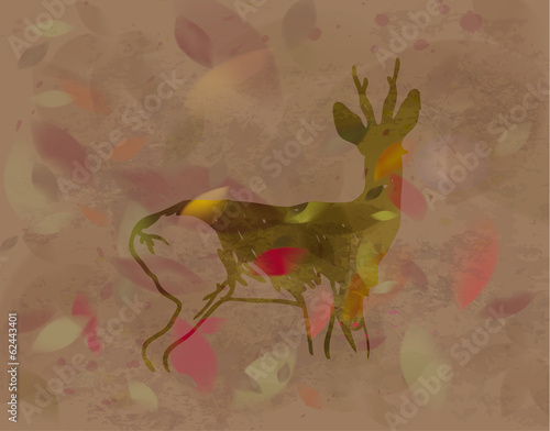 Doe in autumn leaves / Silhouette of wild animal