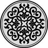 Garnished pattern in editable vector design, Grayscale
