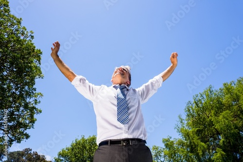 Successful businessman with arms outstretched