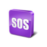 SOS 3d Rounded Corner Violet Vector Icon Button