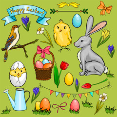 Vector cartoon Easter collection