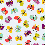 Seamless vector colorful butterfly pattern.