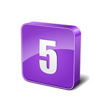 Number 5 3d Rounded Corner Violet Vector Icon Button