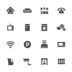 Home rental theme icon set