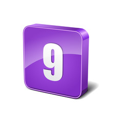 9 Number 3d Rounded Corner Violet Vector Icon Button