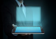 Modern touch screen tablet technology and social media in hand