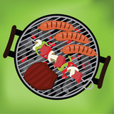 BBQ with steak, sausages and shish kebab on green background, ve