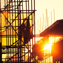 Scaffolding silhouette at sunset