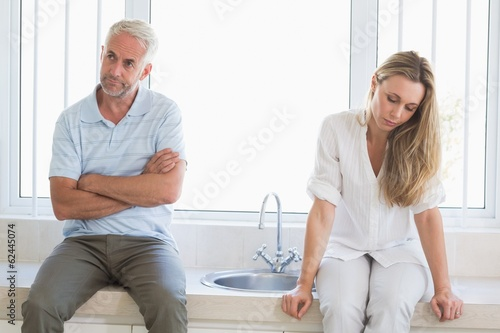 Upset couple not talking after an argument
