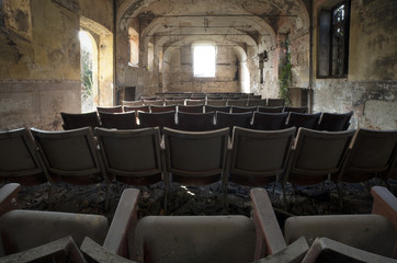 Old abandoned theater in mansion