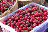 fresh cherry fruit in  basket