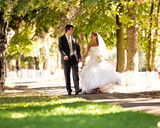 Beautiful bride and groom walking at park holding hands