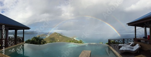 Double rainbow over an infinite pool in the Caribbeans
