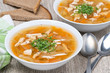 vegetable soup with chicken, horizontal