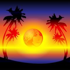tropical sunset on the seashore sun reflection girl