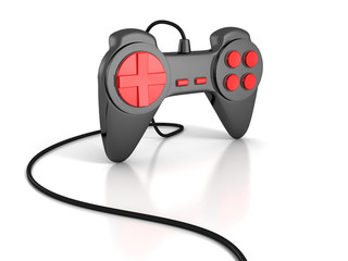 black joystick with cable for computer game playing
