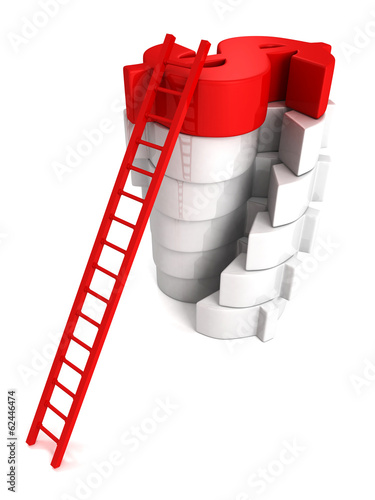 Concept success ladder to top red Dollar symbol