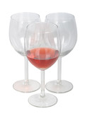 Set of empty wine glasses