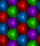 3d Abstract seamless background with colored cubes