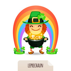 Lucky Leprechaun with coins in front of a rainbow