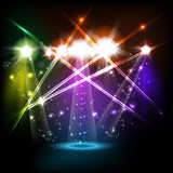 banner neon light stage background for your text