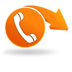 téléphone sur bouton orange