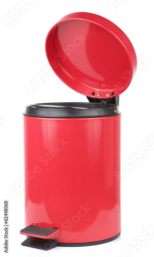 Red Dust Bin on White background