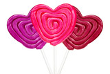 Three heart shaped lollipops