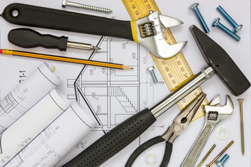 Construction tools and blueprints