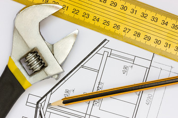 Tools on the building blueprints
