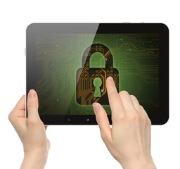 Women hands hold and touch tablet PC with lock