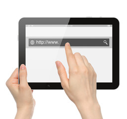 Hand pushing virtual search bar on tablet PC on white background