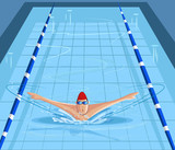 Swimmer swimming in pool