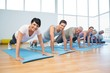 Group doing push ups in row at yoga class