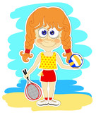 Funny girl with ball and rackets