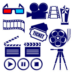 Movie icon set vector  illustration
