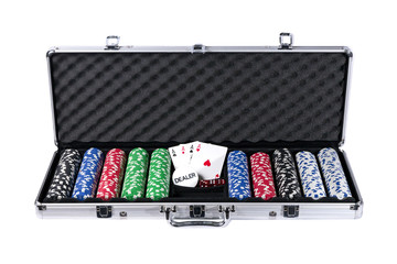 Poker case with chips and cards with path