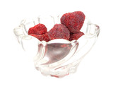 Dried Strawberries In Bowl Side View