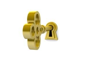 3D render of a golden key on keyhole.