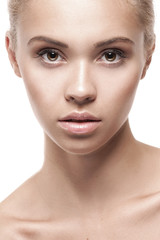 Young woman with beautiful healthy face