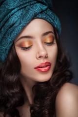 Portrait of a beautiful woman in turban