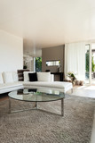 beautiful interiors of a modern house, living room, white divan