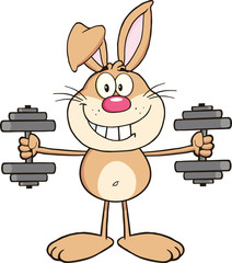 Smiling Rabbit Cartoon Character Training With Dumbbells