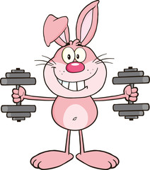 Smiling Pink Rabbit Cartoon Character Training With Dumbbells
