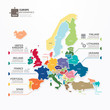 Europe Map Infographic Template jigsaw concept banner. vector il