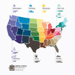 United states Map Infographic Template jigsaw concept banner. ve